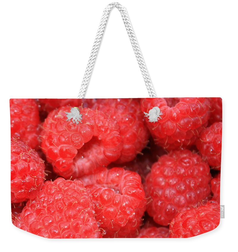 Food Weekender Tote Bag featuring the photograph Raspberries Close-up by Carol Groenen