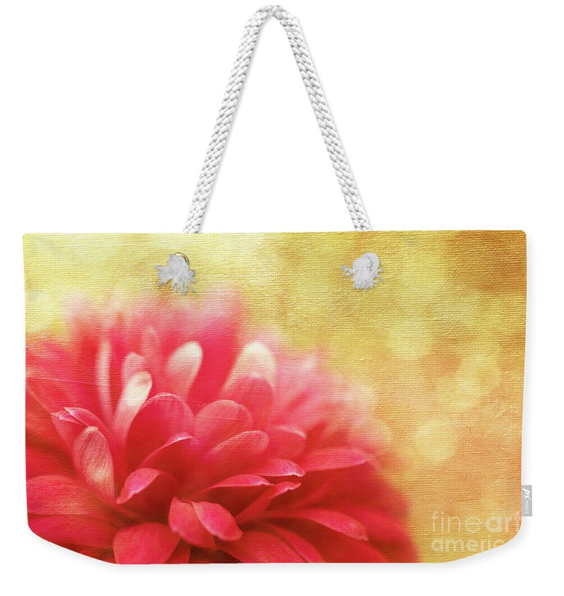 Dahlia Weekender Tote Bag featuring the photograph Raspberry Champagne by Beve Brown-Clark Photography