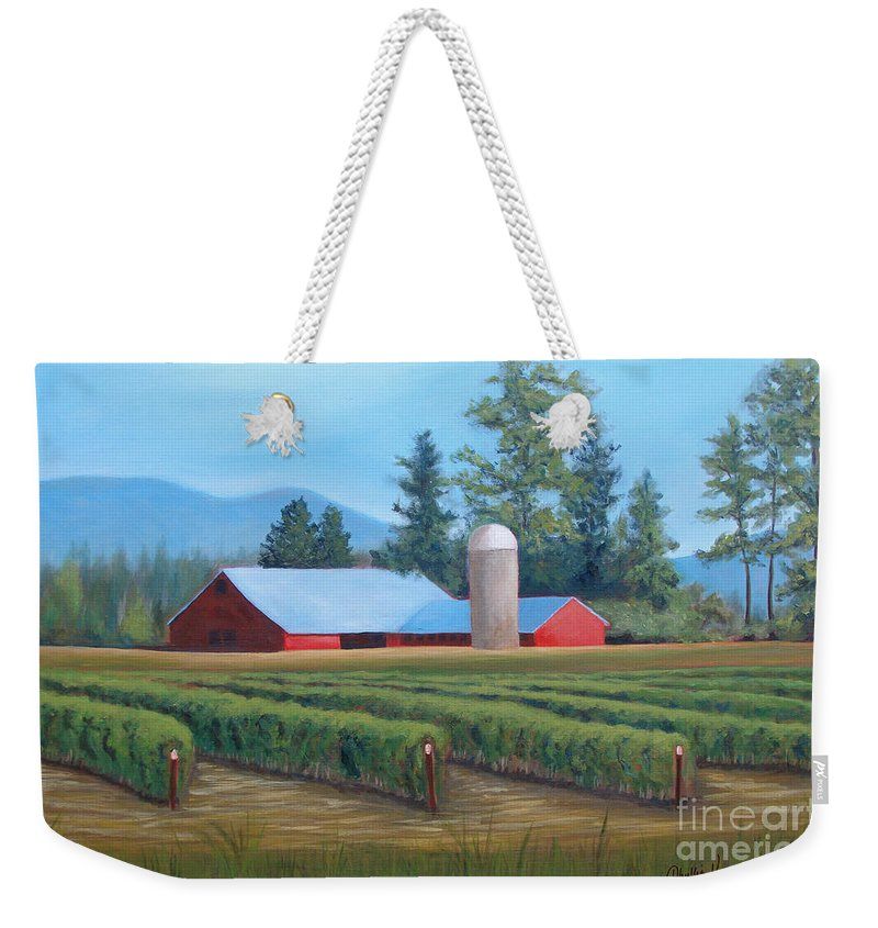 Farm Weekender Tote Bag featuring the painting Raspberry Fields Forever by Phyllis Howard