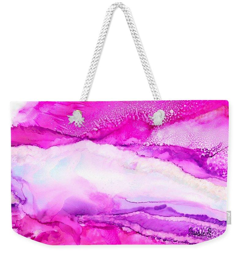 Raspberry Weekender Tote Bag featuring the painting Raspberry Slope by Susie Shanlian