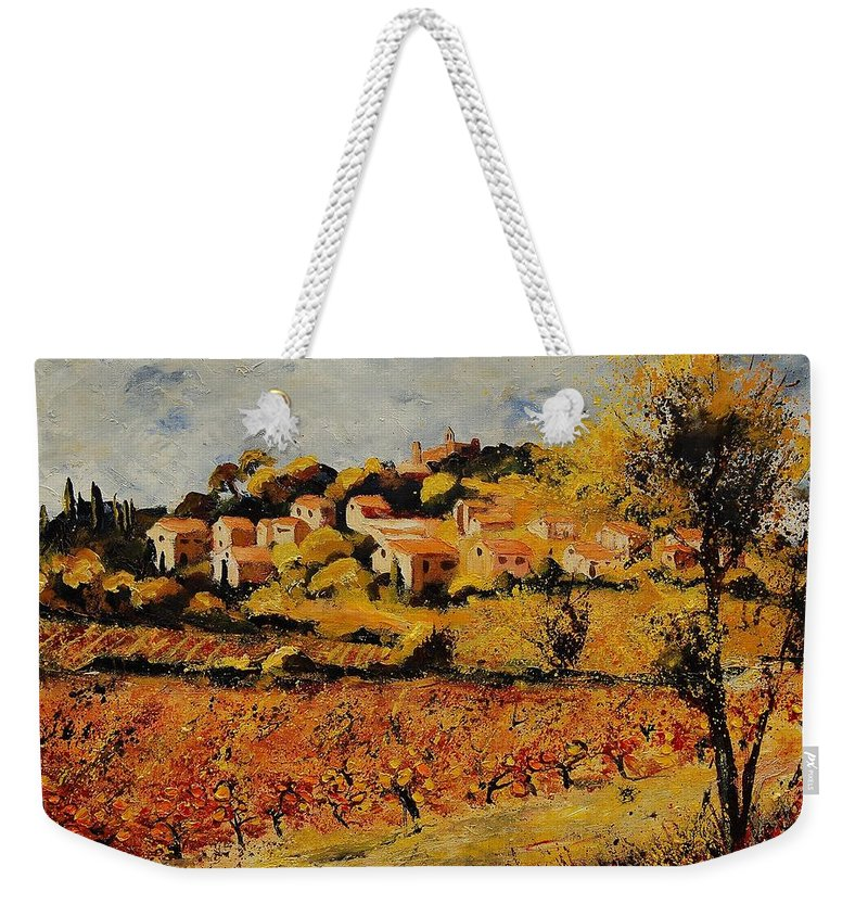 Provence Weekender Tote Bag featuring the painting Rasteau Vaucluse by Pol Ledent