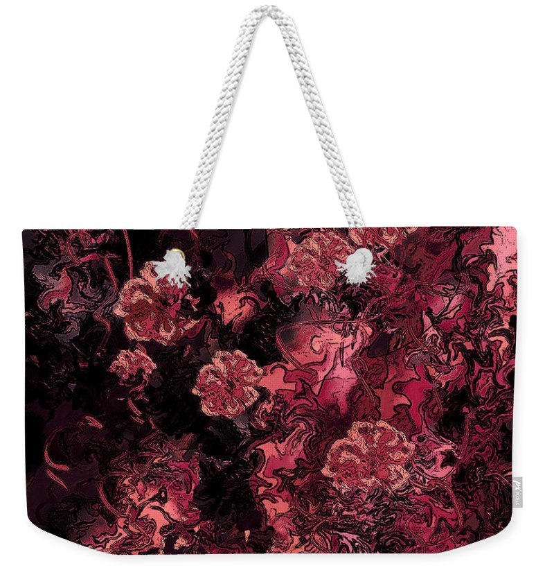 Abstract Weekender Tote Bag featuring the digital art Ravaged Heart by Rachel Christine Nowicki