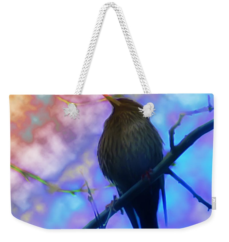 Bird Weekender Tote Bag featuring the photograph Raven In Spring by Bill Cannon