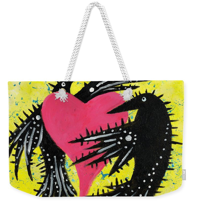 Ravens Weekender Tote Bag featuring the painting Raven Love by Breanna Jacobs