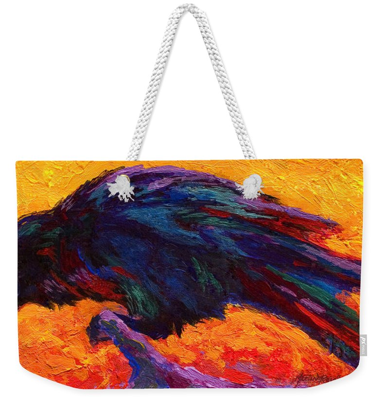 Crows Weekender Tote Bag featuring the painting Raven by Marion Rose