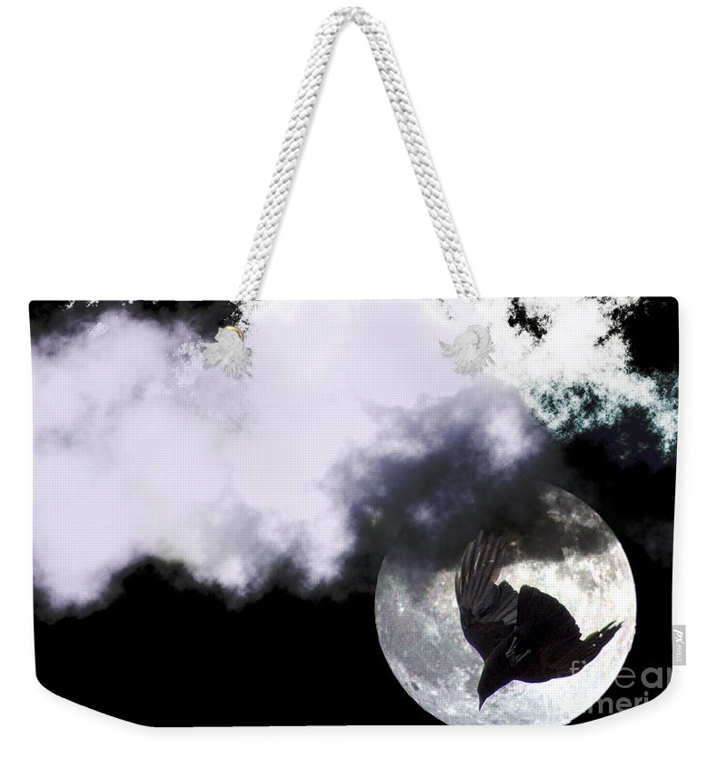Clay Weekender Tote Bag featuring the photograph Raven Moon by Clayton Bruster