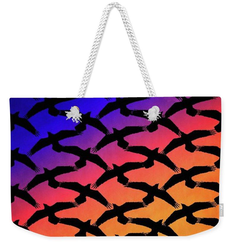 Ravens Weekender Tote Bag featuring the digital art Raven Sky by Timothy Bulone