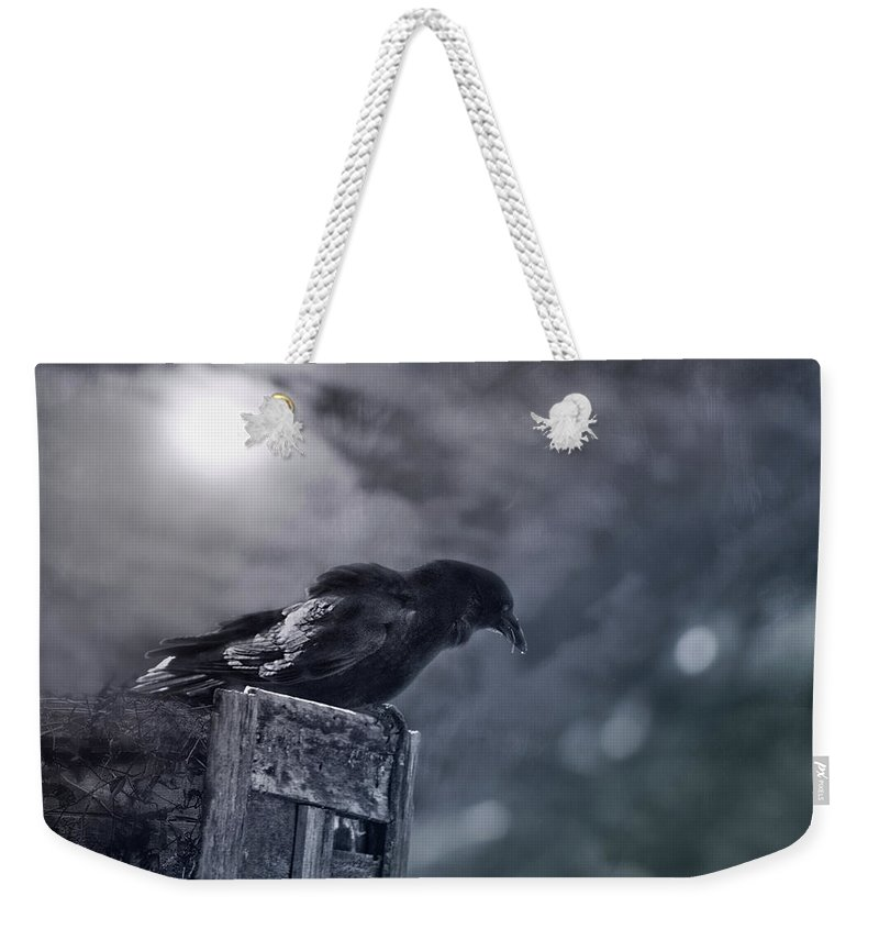 Raven Weekender Tote Bag featuring the photograph Raven Twilight by Susan Capuano