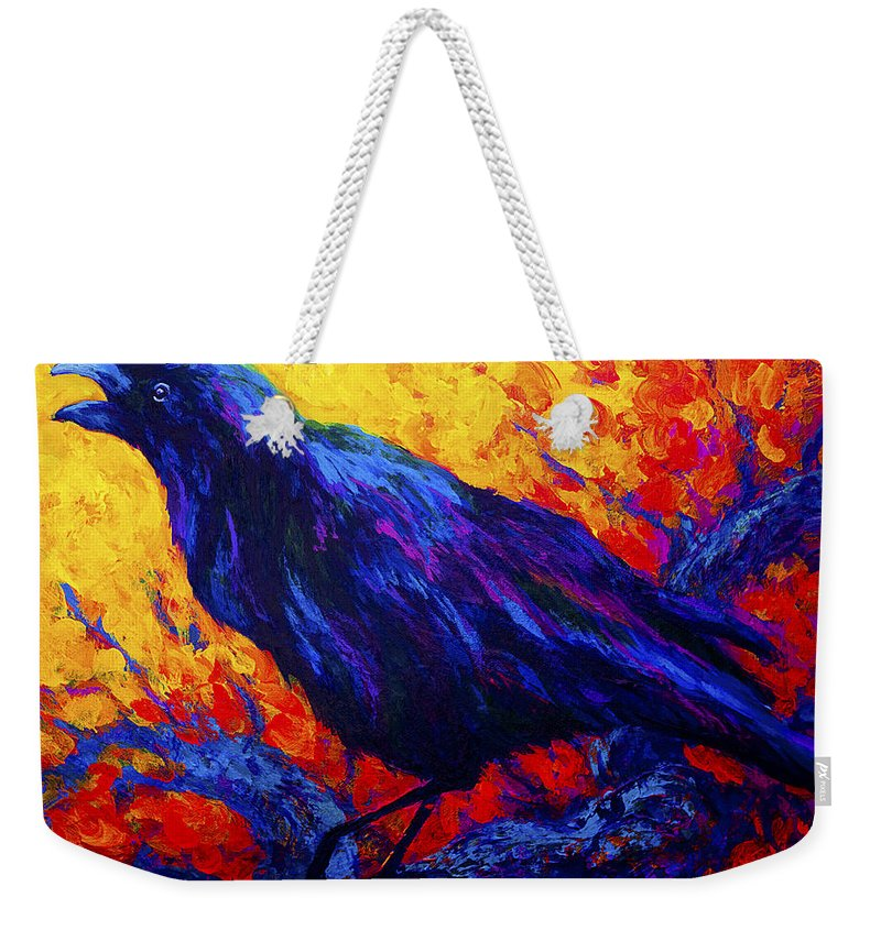 Crows Weekender Tote Bag featuring the painting Raven's Echo by Marion Rose
