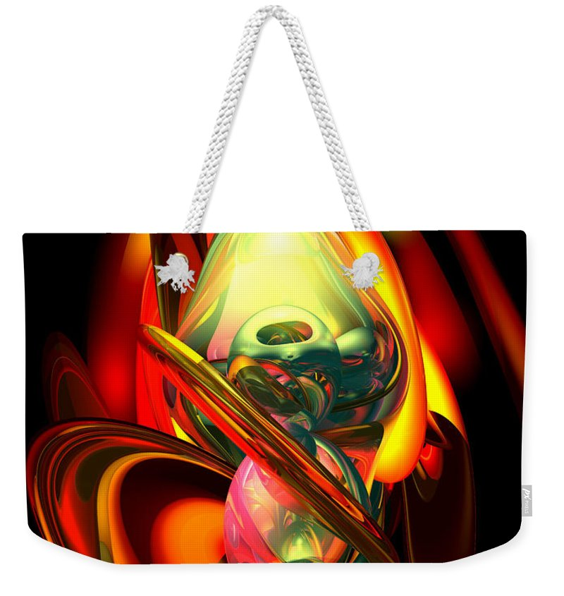 3d Weekender Tote Bag featuring the digital art Raw Fury Abstract by Alexander Butler