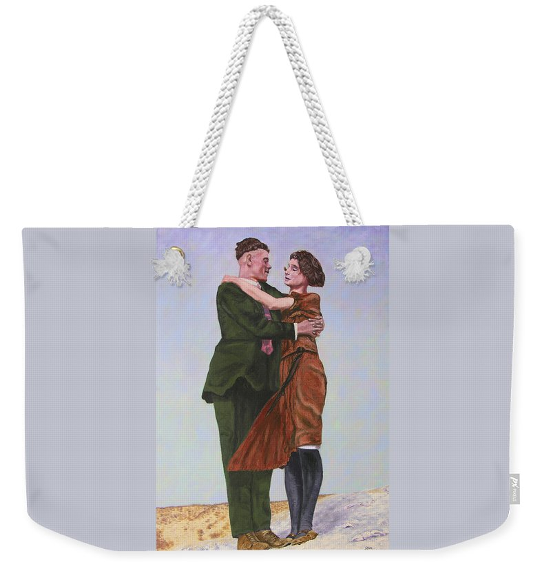 Double Portrait Weekender Tote Bag featuring the painting Ray And Isabel by Stan Hamilton