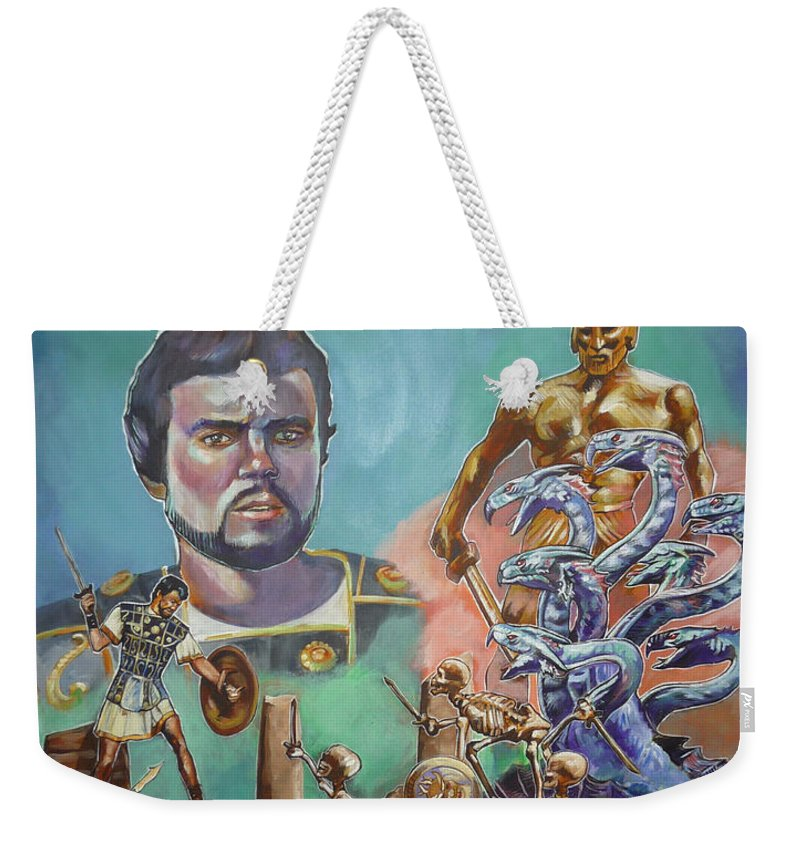 Jason Argonauts Hydra Talos Skeletons Movie Harryhausen Fantasy Sci-fi Weekender Tote Bag featuring the painting Ray Harryhausen Tribute Jason And The Argonauts by Bryan Bustard