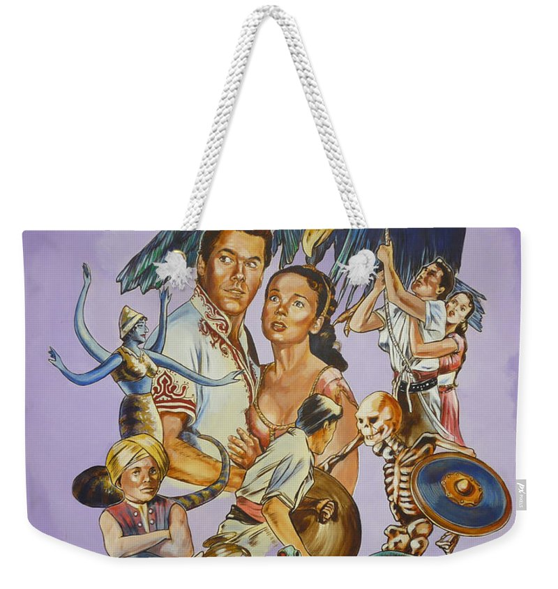 Movie Weekender Tote Bag featuring the painting Ray Harryhausen Tribute Seventh Voyage Of Sinbad by Bryan Bustard
