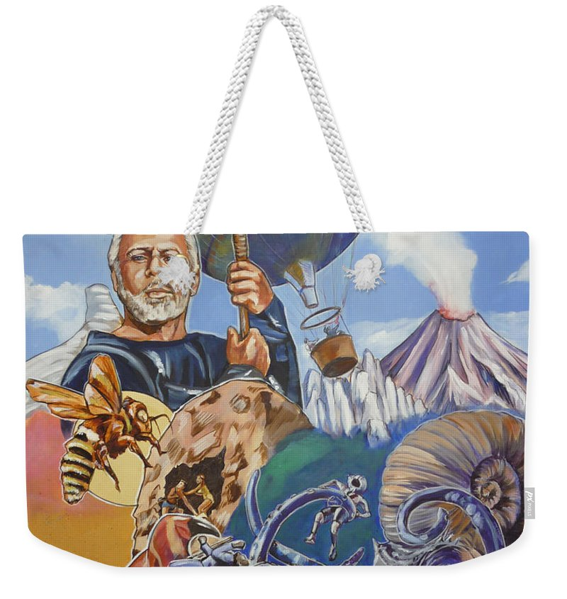 Mysterious Island Weekender Tote Bag featuring the painting Ray Harryhausen Tribute The Mysterious Island by Bryan Bustard