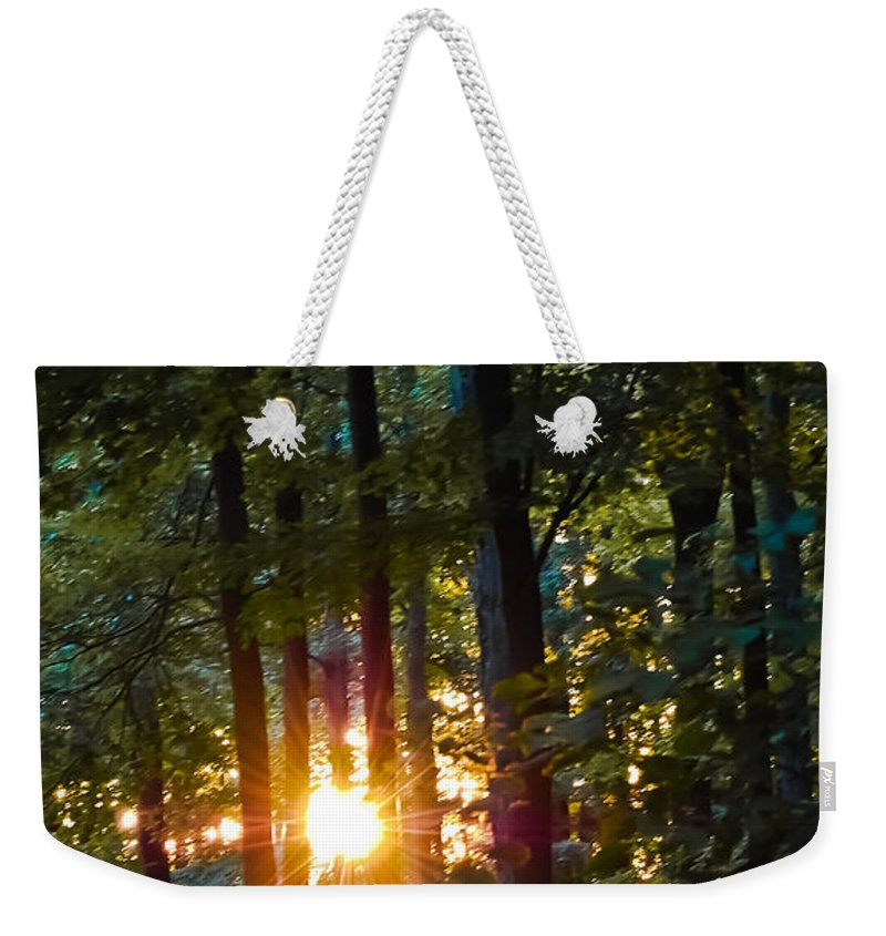 Sun Weekender Tote Bag featuring the digital art Rays Of Dawn by DigiArt Diaries by Vicky B Fuller