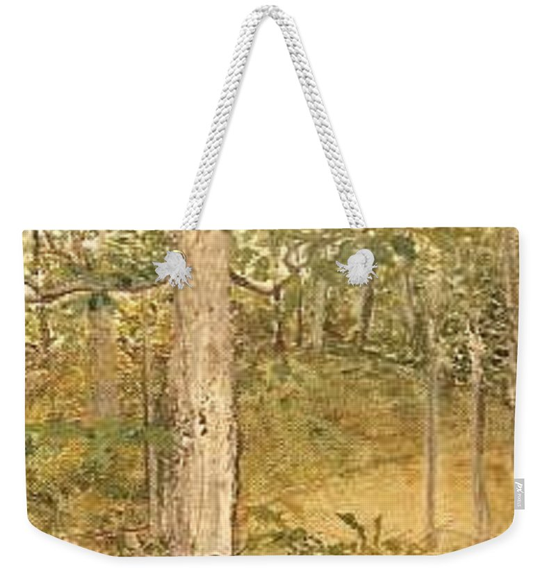 Trees Weekender Tote Bag featuring the painting Raystown Lake by Leah Tomaino