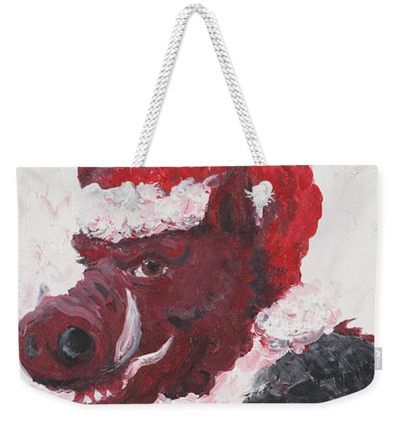 Santa Weekender Tote Bag featuring the painting Razorback Santa by Nadine Rippelmeyer