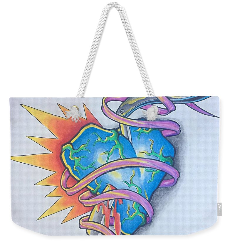 Heart Weekender Tote Bag featuring the drawing Razors Edge by Noah Babcock