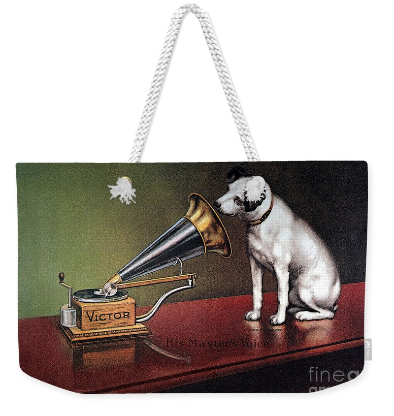 1920 Weekender Tote Bag featuring the photograph Rca Victor Trademark by Granger