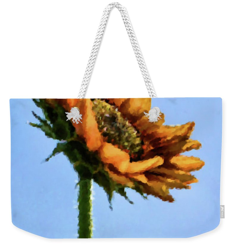 Sunflower Weekender Tote Bag featuring the painting Reach For The Sun by Kristin Elmquist