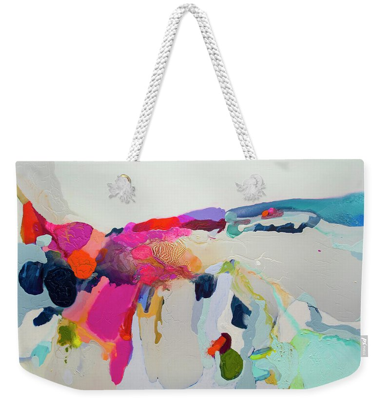 Abstract Weekender Tote Bag featuring the painting Reach In Reach Out by Claire Desjardins