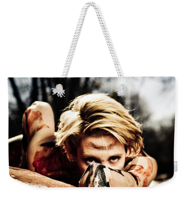 Woman Weekender Tote Bag featuring the photograph Reach by Scott Sawyer