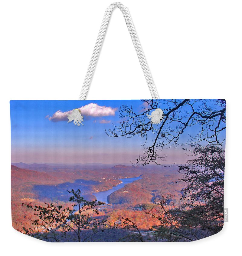 Landscape Weekender Tote Bag featuring the photograph Reaching For A Cloud by Steve Karol