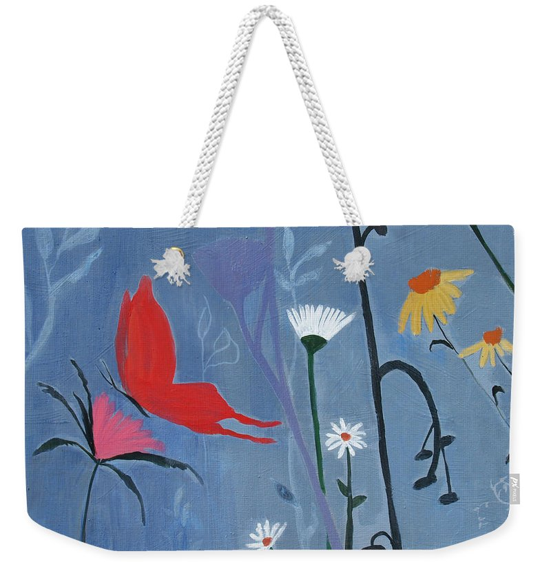 Reaching Higher Weekender Tote Bag featuring the painting Reaching Higher by Robin Maria Pedrero