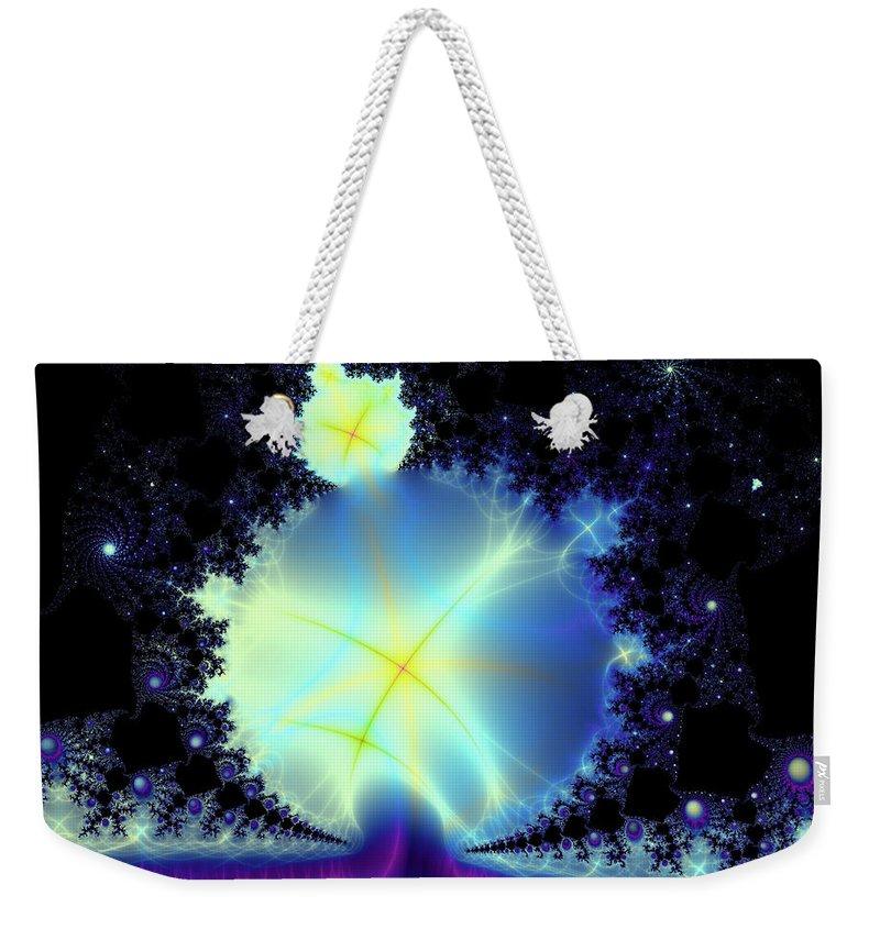 Fractal Weekender Tote Bag featuring the digital art Reaching Out by Debra Martelli
