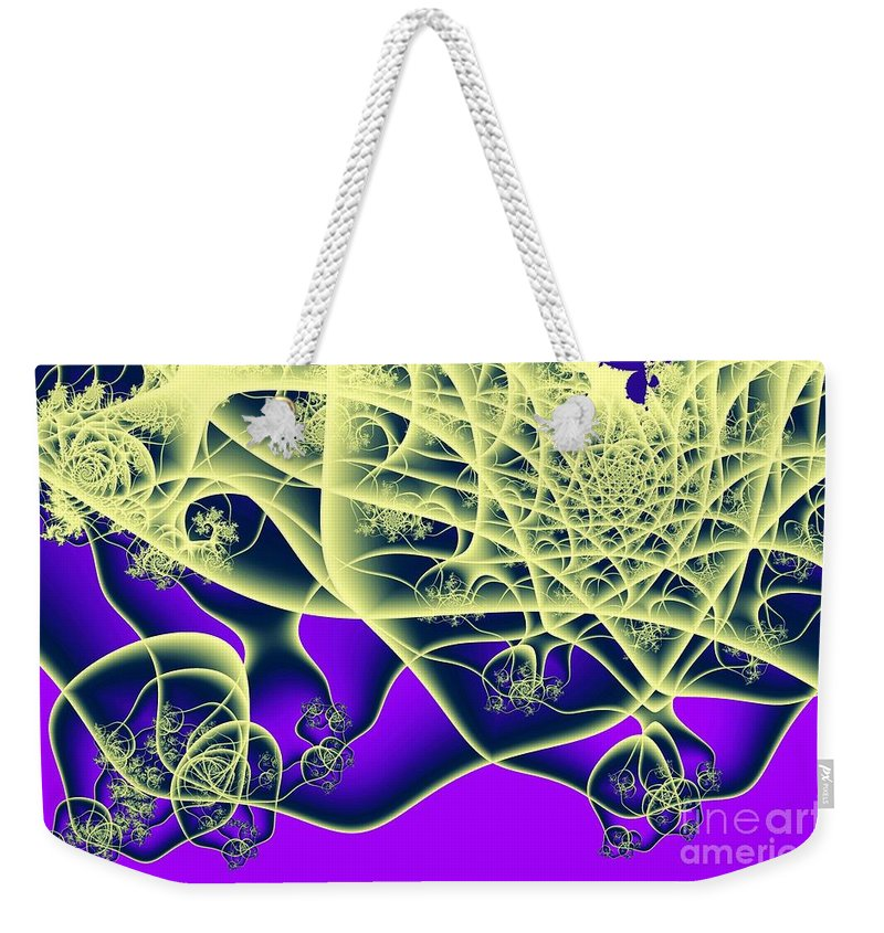 Fractal Weekender Tote Bag featuring the digital art Reaching Out by Ron Bissett