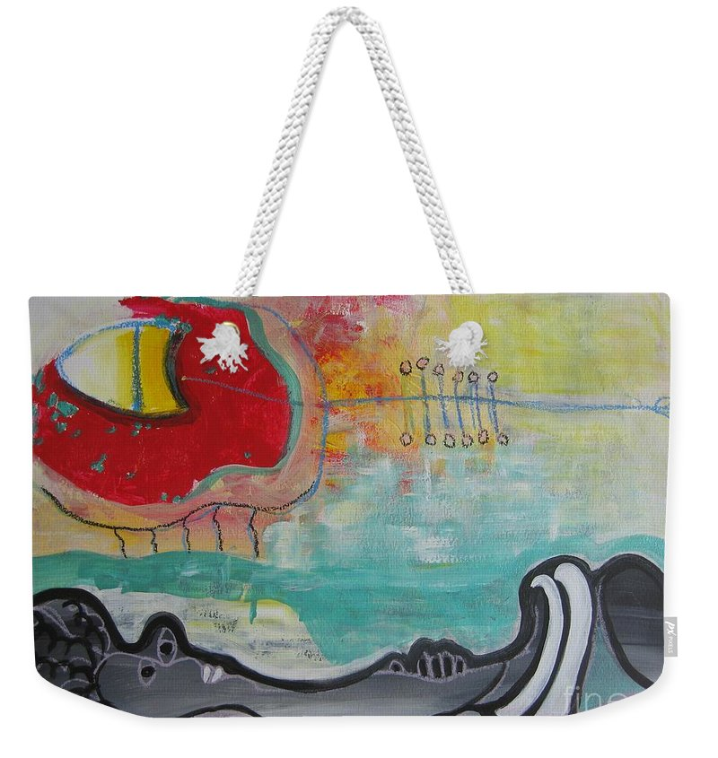 Red Paintings Weekender Tote Bag featuring the painting Read My Mind1 by Seon-Jeong Kim
