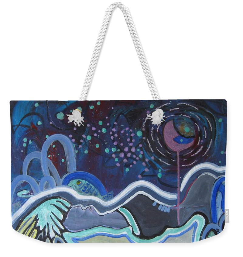 Abstract Paintings Weekender Tote Bag featuring the painting Read My Mind5 by Seon-Jeong Kim