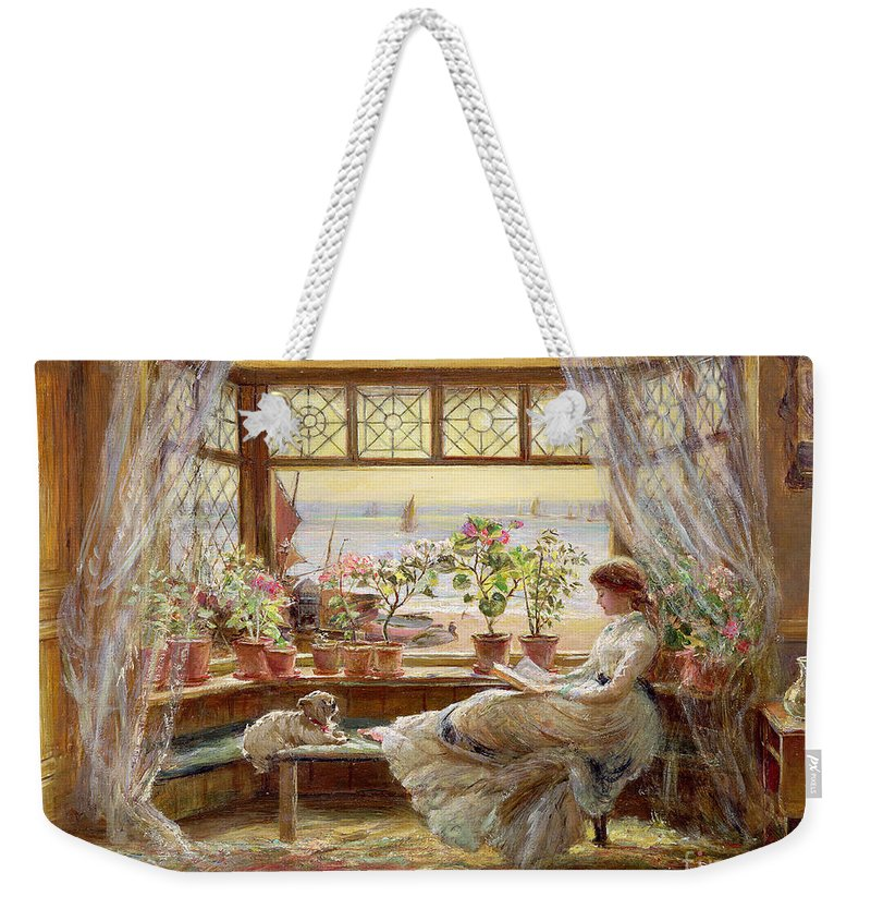 Dog Weekender Tote Bag featuring the painting Reading By The Window by Charles James Lewis