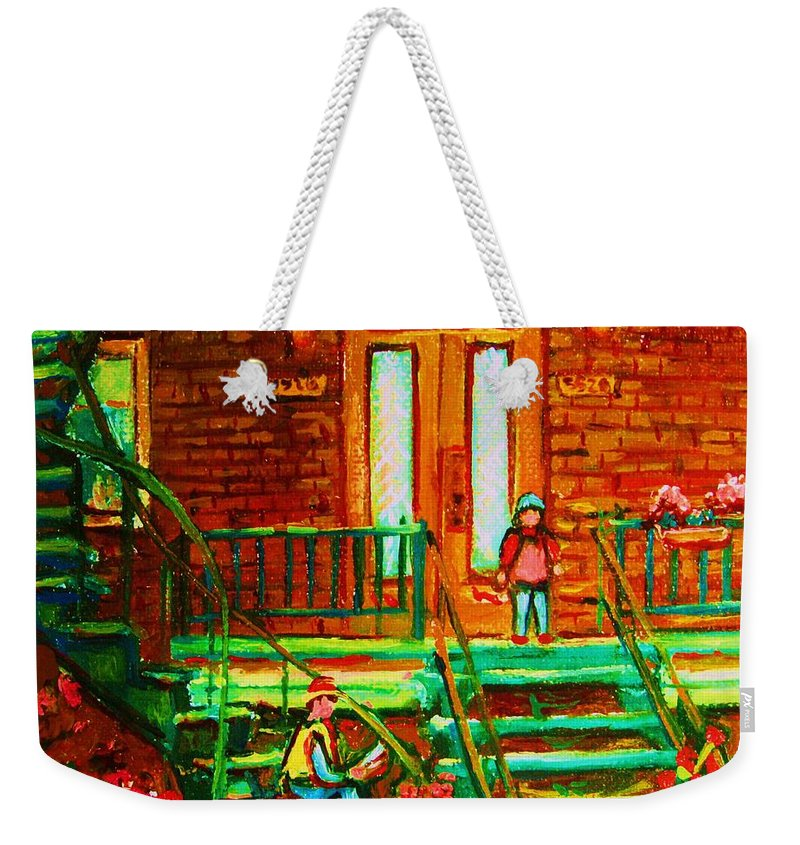 Stairways Weekender Tote Bag featuring the painting Reading On The Steps by Carole Spandau