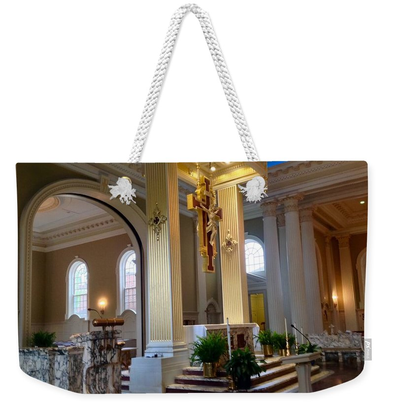 Weekender Tote Bag featuring the photograph Ready For Mass by Jacqueline Manos
