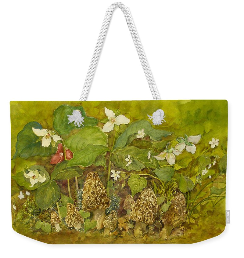 Mushrooms;trillium;spring;violets;woods;woodland;morels;watercolor Painting; Weekender Tote Bag featuring the painting Ready For Pickin' by Lois Mountz