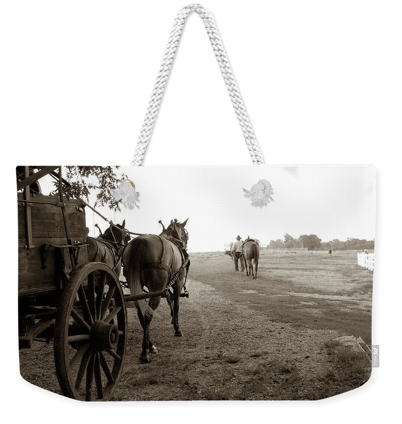 Horses Weekender Tote Bag featuring the photograph Ready For Sundown by Toni Hopper
