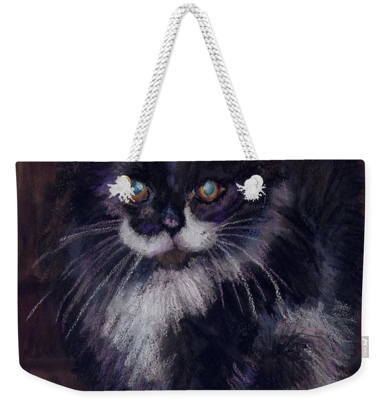Kitten Weekender Tote Bag featuring the painting Ready For Trouble by Sharon E Allen