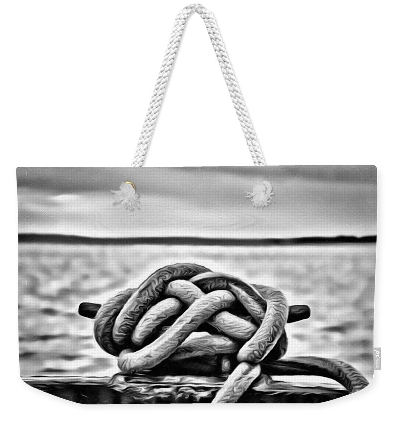 Ship Rope Weekender Tote Bag featuring the photograph Ready To Dock by Roxy Hurtubise