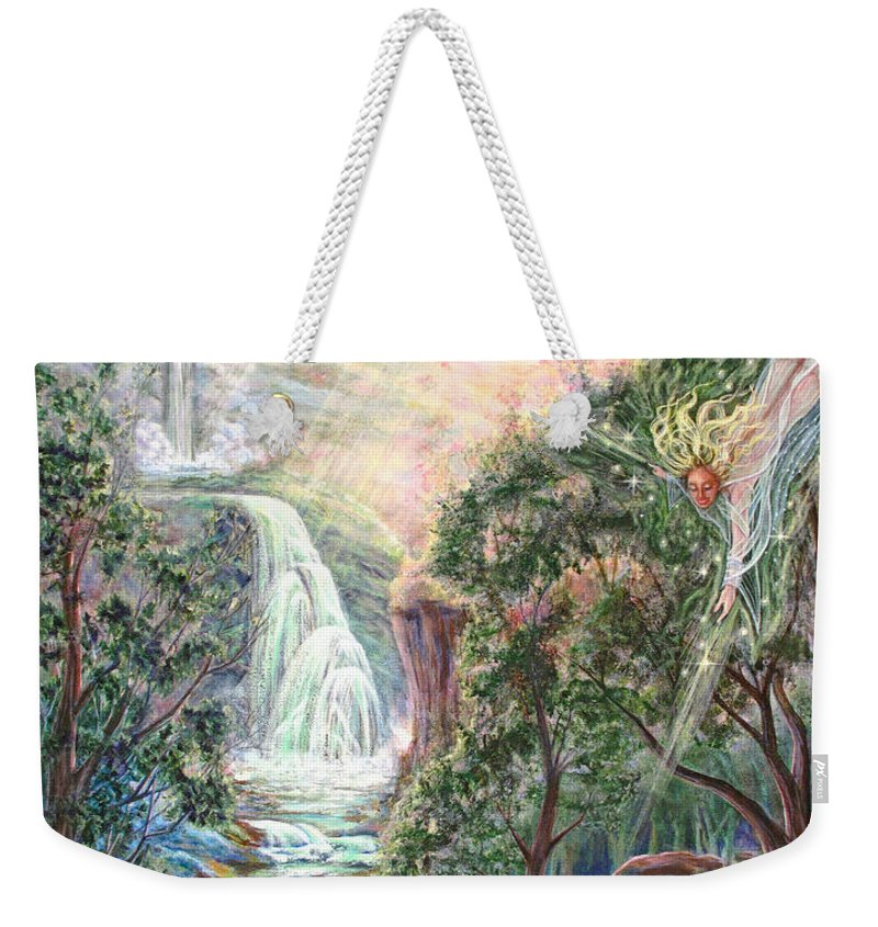 Spiritual Weekender Tote Bag featuring the painting Ready To Fly by Joyce Jackson