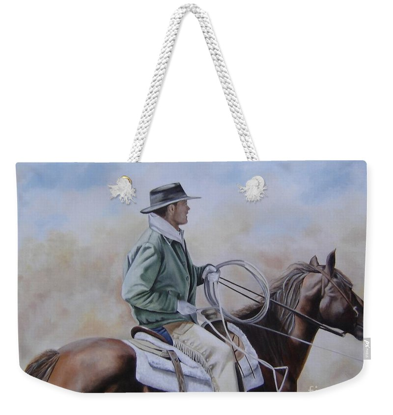 Ranch Weekender Tote Bag featuring the painting Ready To Rope by Mary Rogers