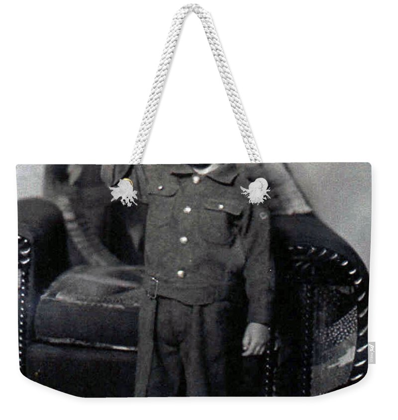 Old Photo Black And White Classic Saskatchewan Pioneers History Child Boy Army Service Weekender Tote Bag featuring the photograph Ready To Serve by Andrea Lawrence