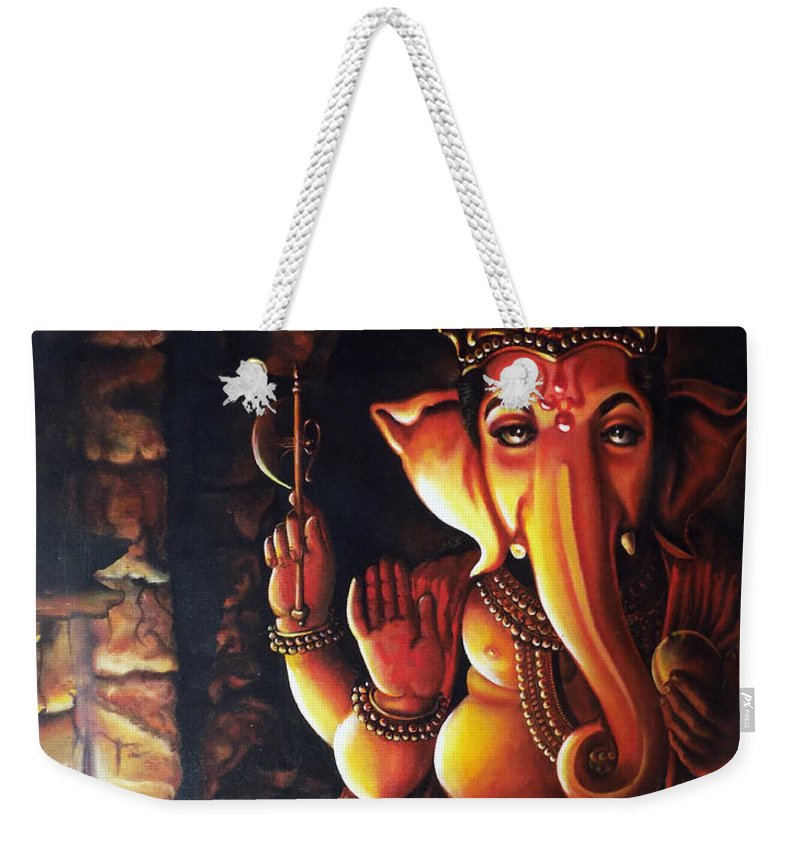 God Weekender Tote Bag featuring the painting Portrait Of Lord Ganapathy Ganesha by Arun Sivaprasad