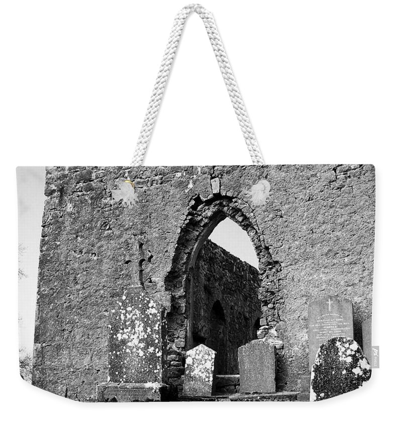Ireland Weekender Tote Bag featuring the photograph Rear Entrance Fuerty Church Roscommon Ireland by Teresa Mucha