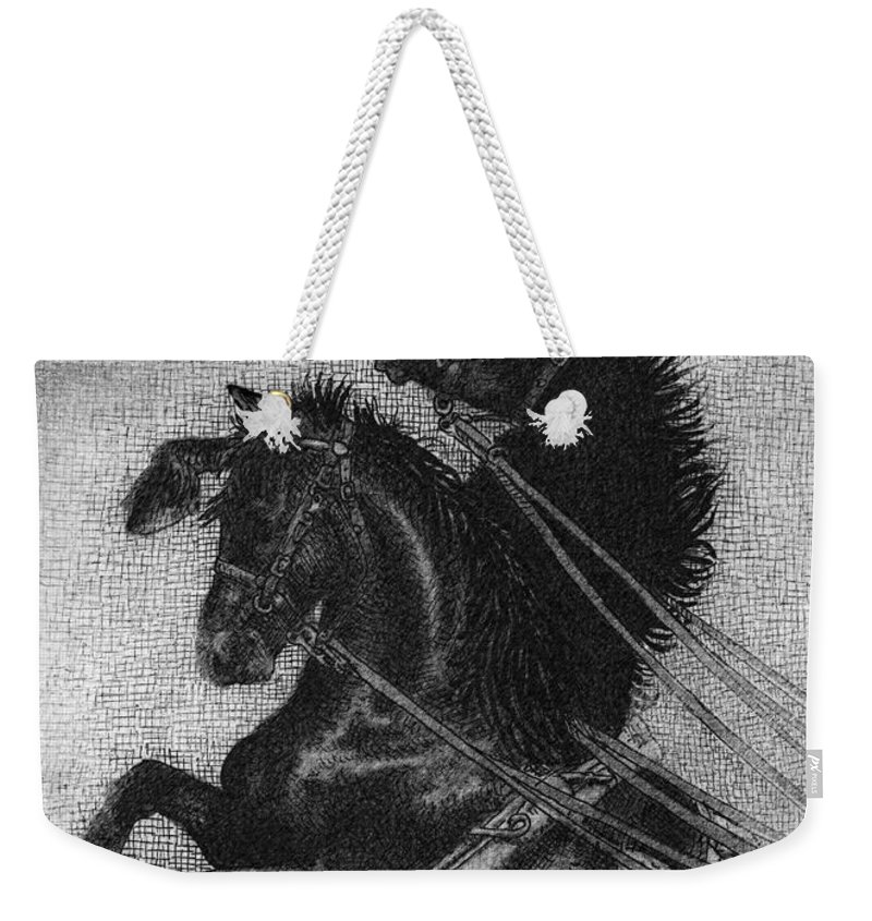 Horses Weekender Tote Bag featuring the drawing Rearing Horses by Eric Fan