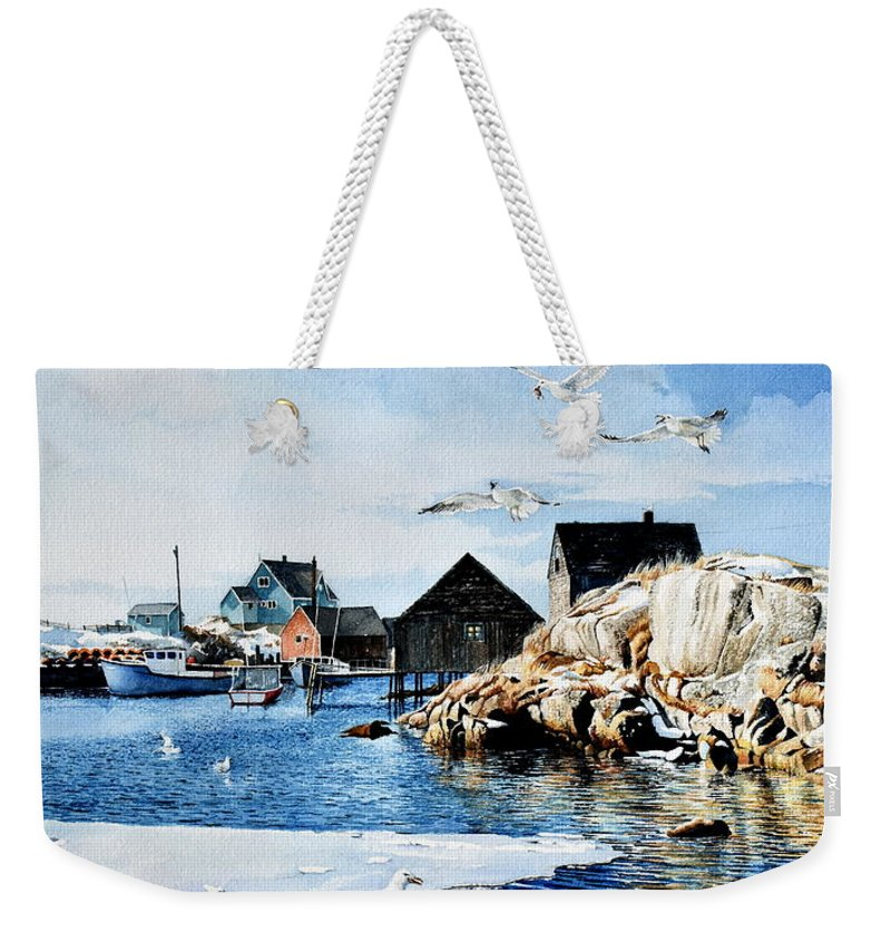Peggy's Cove Painting Weekender Tote Bag featuring the painting Reason To Believe by Hanne Lore Koehler