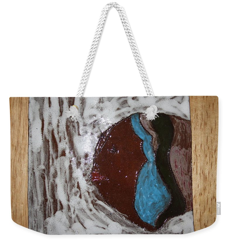 Jesus Weekender Tote Bag featuring the ceramic art Rebecca - Tile by Gloria Ssali