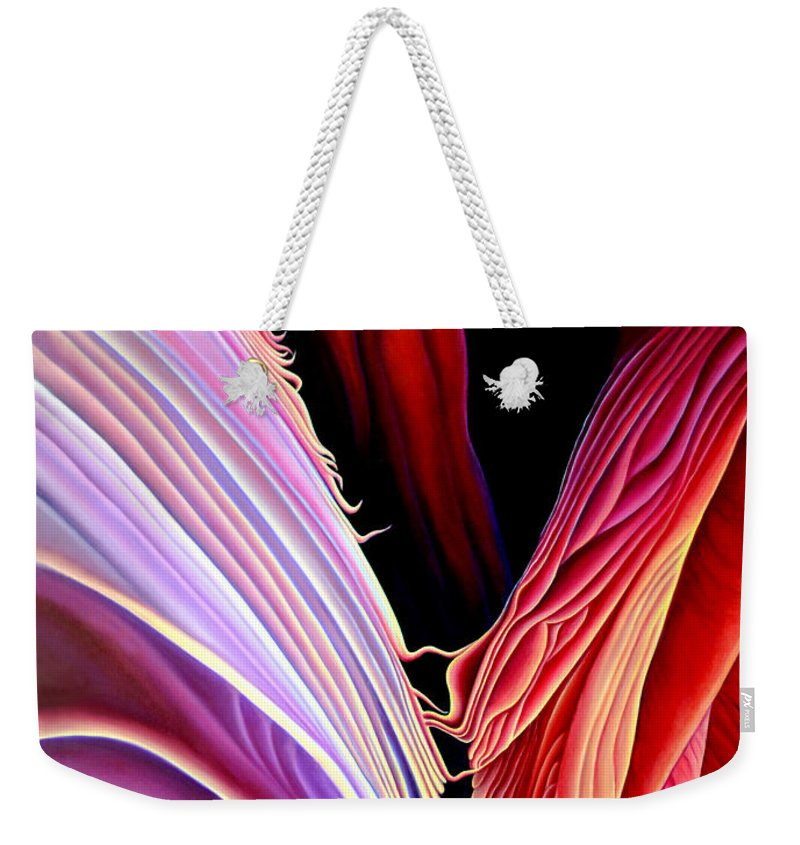 Antalope Canyon Weekender Tote Bag featuring the painting Rebirth by Anni Adkins