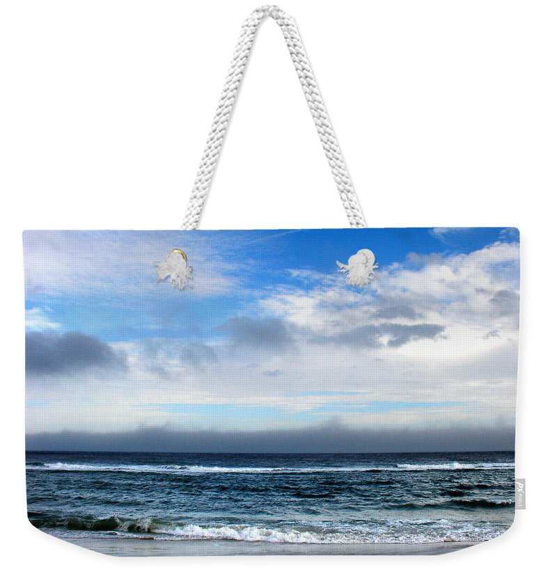 Seascape Weekender Tote Bag featuring the photograph Receding Fog Seascape by Steve Karol