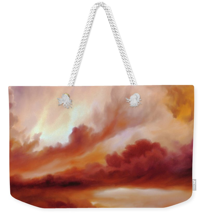 Skyscape Weekender Tote Bag featuring the painting Receding Storm Sketch IIi by James Christopher Hill